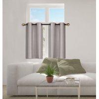 """N25 Silver 1-Set Solid Faux Silk Grommet Top Small Window Curtain, 2 Semi Sheer Tier Panels 30"""" W x 36"""" L (Each Tier)"""