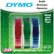 DYMO Self-Adhesive Embossing Labels, 3/8-Inch x 9.8-Foot Roll, Assorted Colors, 3 Pack