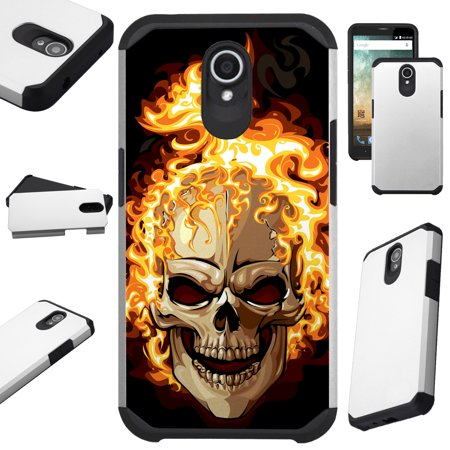 For AT&T Axia Cricket Vision (2018) Case Hybrid TPU Fusion Phone Cover (Skull Fire) (Fire Phone Case Cover)
