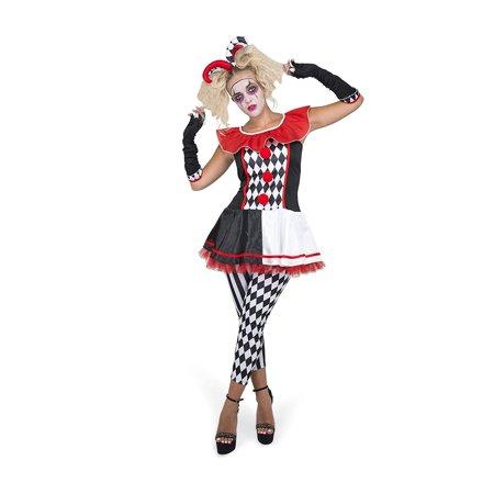 Female Geek Halloween Costumes (Female Jester Costume Set - Halloween Womens Carnival Harlequin Dress,)