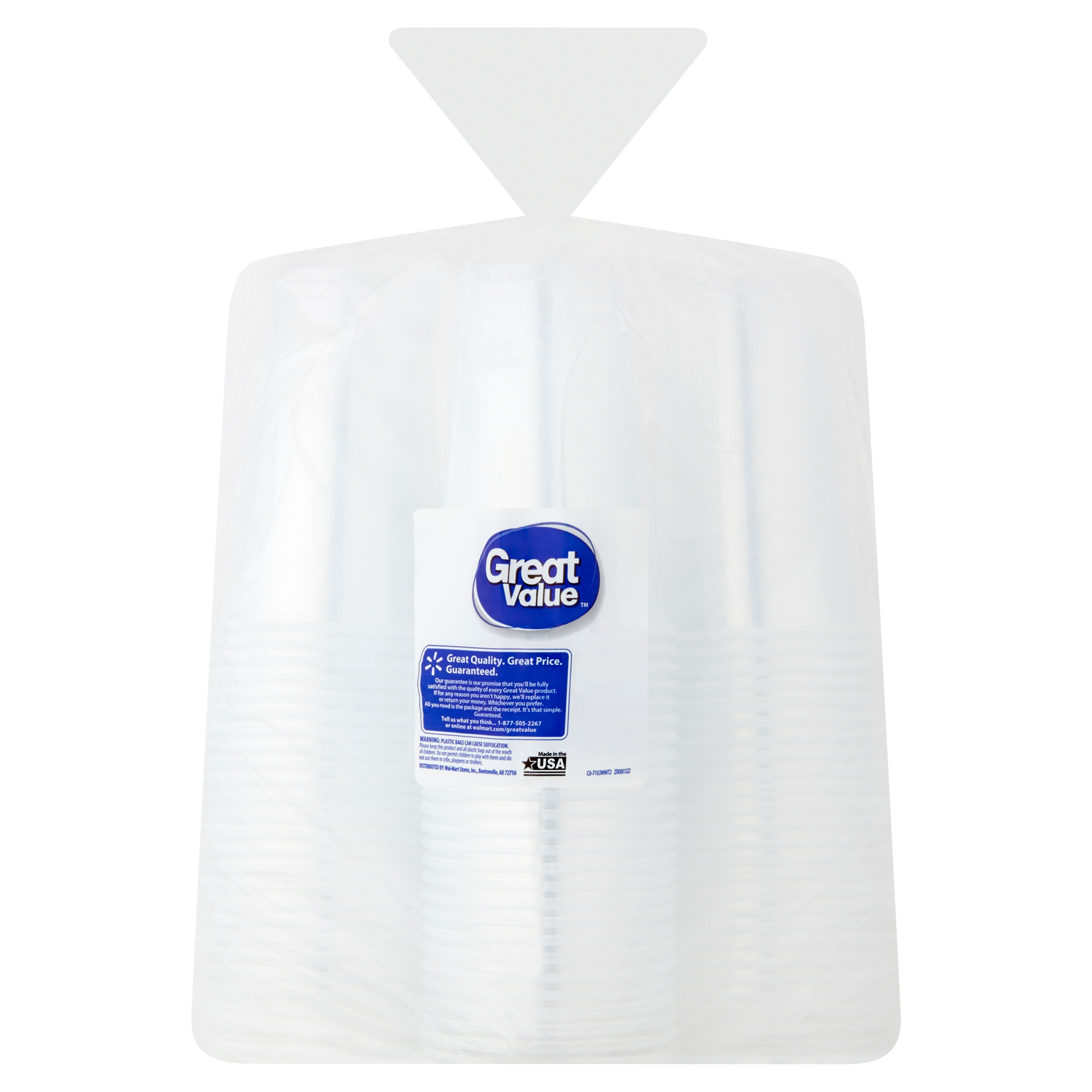 Great Value Clear Cups 100 count 16 fl oz