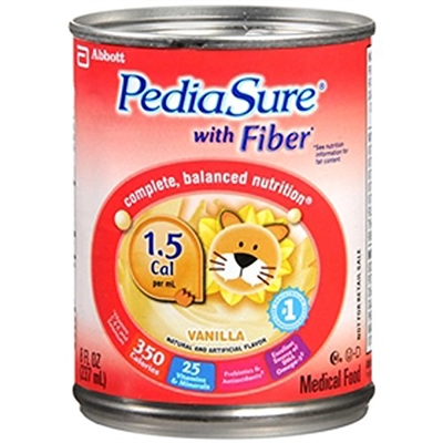 PediaSure with Fiber Formula, 1.5 Cal, Vanilla, 8 Ounce Can, Abbott 56411 - Case of 24