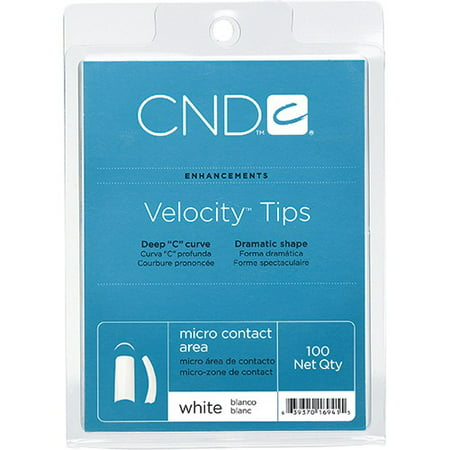 CND Creative Nail Design Nail Tips Velocity White French Size 0-10 100ct/Tray ()