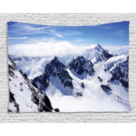 Winter Decor Tapestry, Snowy Mountain Peaks Tops High Lands Northern Scenic Alps Panorama Valley, Wall Hanging for Bedroom Living Room Dorm Decor, 60W X 40L Inches, White Blue, by Ambesonne