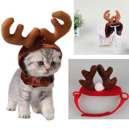 Cute Christmas Reindeer Pet Hat For Puppy Dog Cat Plush Xmas Style Costume Cap - Dog Christmas Costume