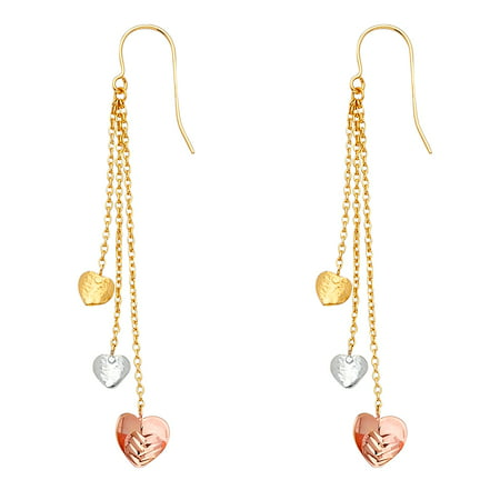 Jewels By Lux 14K White Yellow And Rose Gold Three Hearts Hanging Chandelier Dangle Womens Earrings 61MM X 7MM ()