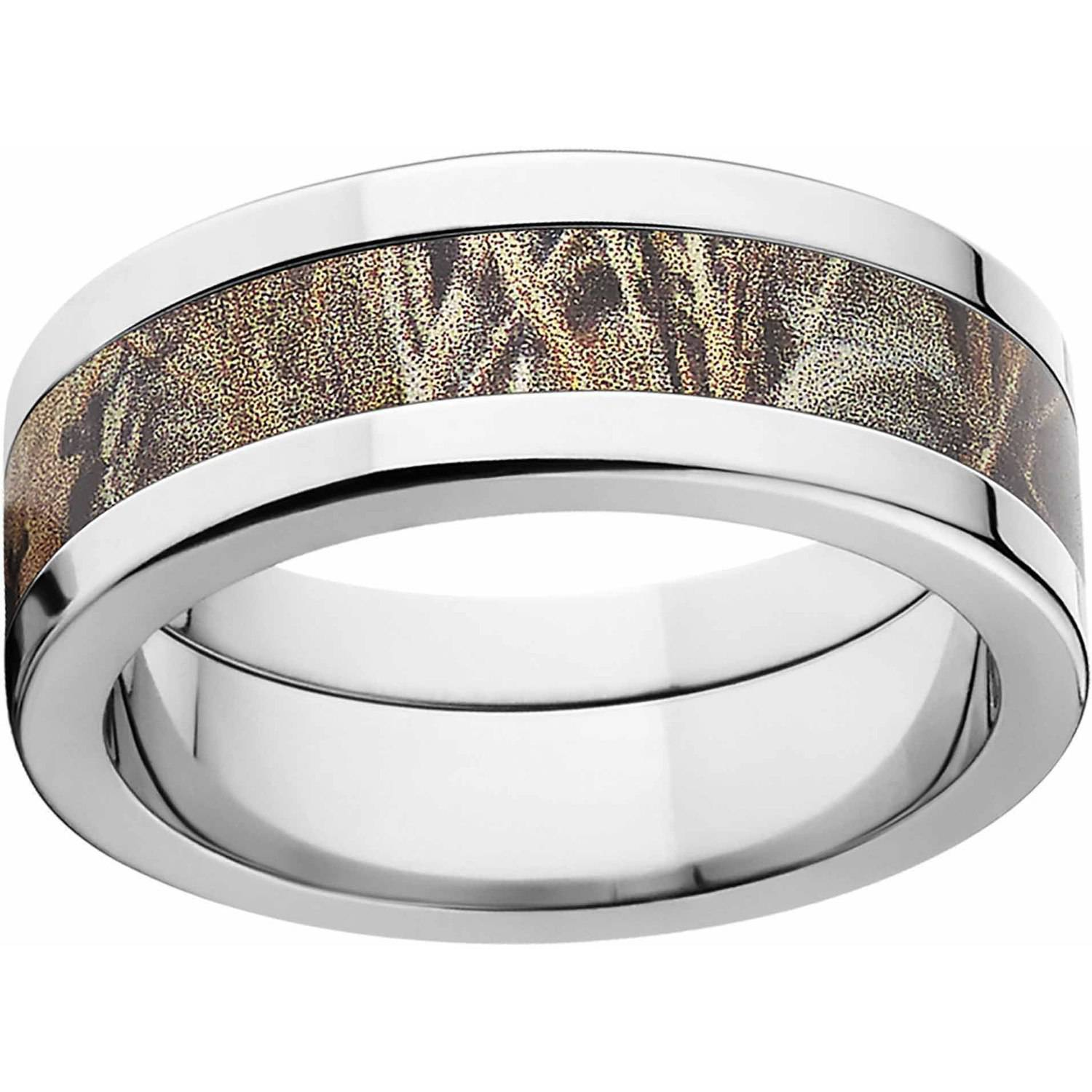 Realtree Max 4 Men's Camo 8mm Stainless Steel Wedding Band with Polished Edges and Deluxe Comfort Fit