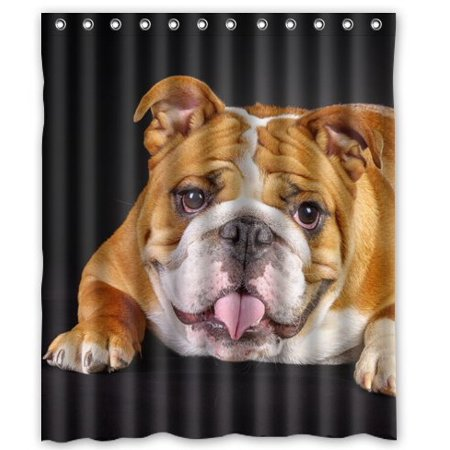 HelloDecor Dogs Glance Animals Bulldog Shower Curtain Polyester Fabric Bathroom Decorative Curtain Size 60x72 Inches