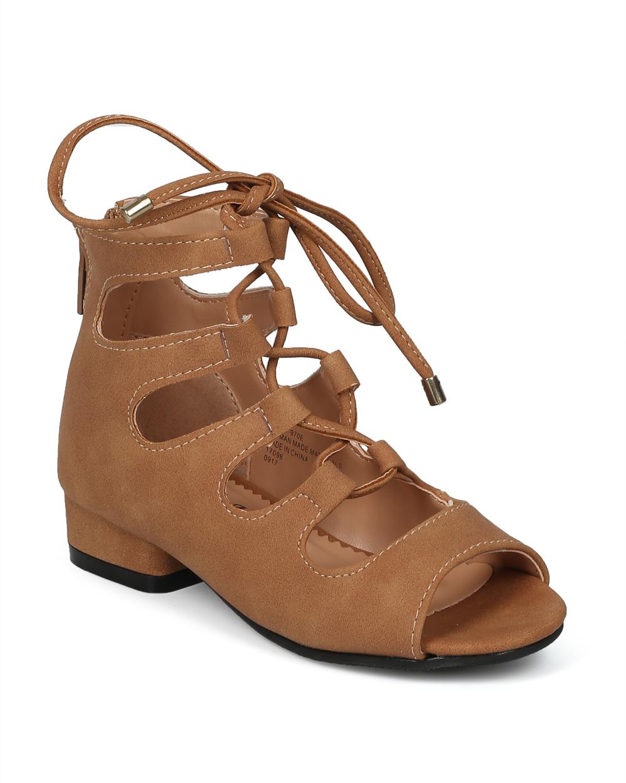 Girls Peep Toe Lace Up Gladiator Low Heel Sandal HF97