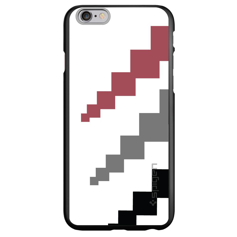 "CUSTOM Black Spigen Thin Fit Case for Apple iPhone 6 PLUS / 6S PLUS (5.5"" Screen) - White Red Gray Black Blocks"