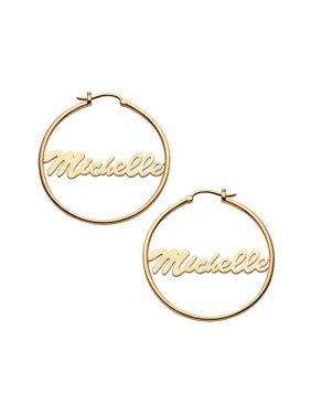 Personalized Women's Sterling Silver or Gold over Silver Name Small 25mm or Medium 35mm Hoop Earrings