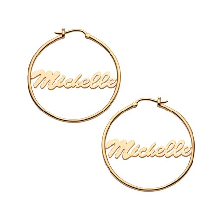 (Personalized Women's Sterling Silver or Gold over Silver Name Small or Medium Hoop Earrings)