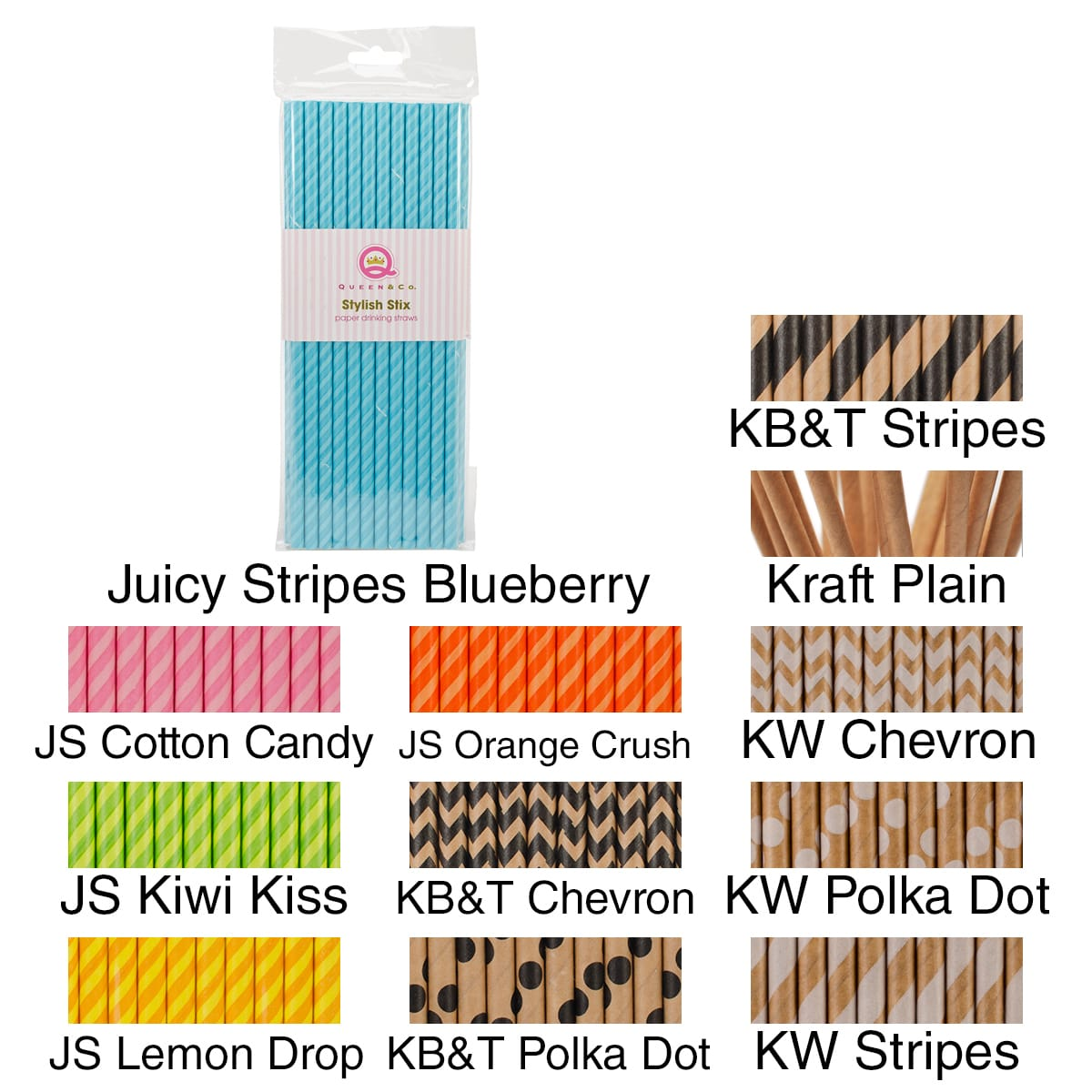 "Stylish Stix Paper Straws .25""X7.75"" 25/Pkg-Juicy Stripes Cotton Candy"