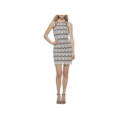 Guess Womens Lace Overlay Spaghetti Straps Cocktail Dress B/W 8