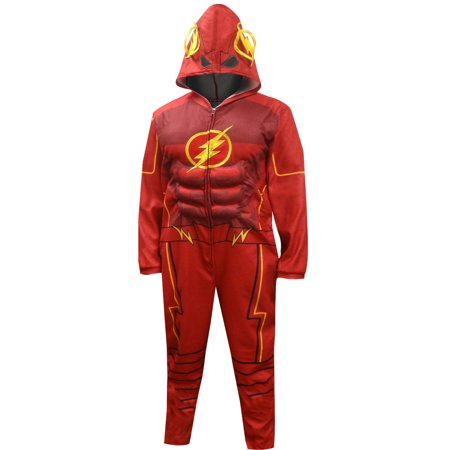 DC Comics Men's Justice League Flash Costume One Piece Union Suit Men Pajama Outfit (Medium)