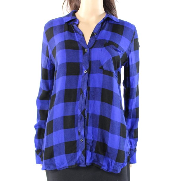 Dylan George NEW Blue Womens Size Small S Plaid Button Down Shirt