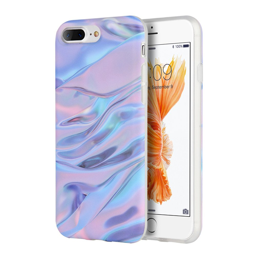 iPhone 7 Plus 5.5 Inch Case Marble IMD Slim Fit Anti Scratch Shock Proof Anti Finger Print Flexible Soft TPU Protective Case - Purple/ Pink