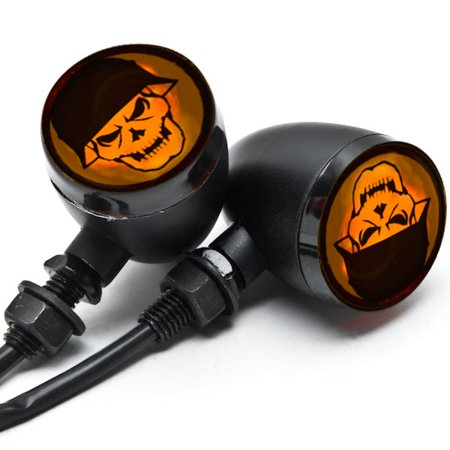2pc Skull Lens Black Motorcycle Turn Signals Bulb For Yamaha Royal Star Venture Classic Royale Deluxe - image 2 of 6