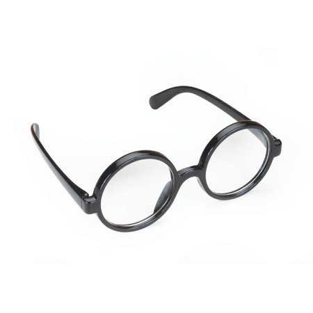 Wizard Quality Round Frame Glasses, Black, One Size (2in (Lens Frames For Round Faces)