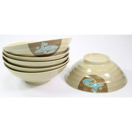 "Set of 6Japanese 8.5"" Large Ramen Noodle Soup Bowl Made of Melamine, For Vietnamese Pho Recipe, Menudo Snacks, Rice Udon Noodle Bowl -D"