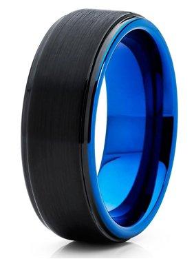 Tungsten Wedding Band Black & Blue Tungsten Ring 8mm Tungsten Carbide Engagement Men Women Comfort Fit