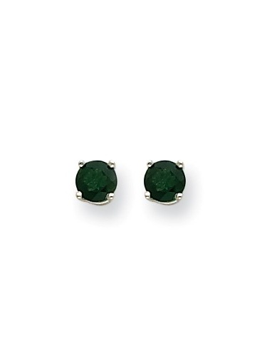 14k White Gold Green Tourmaline Post Back Stud Earrings. Gem Wt- 0.96ct (5MM) by Jewelrypot
