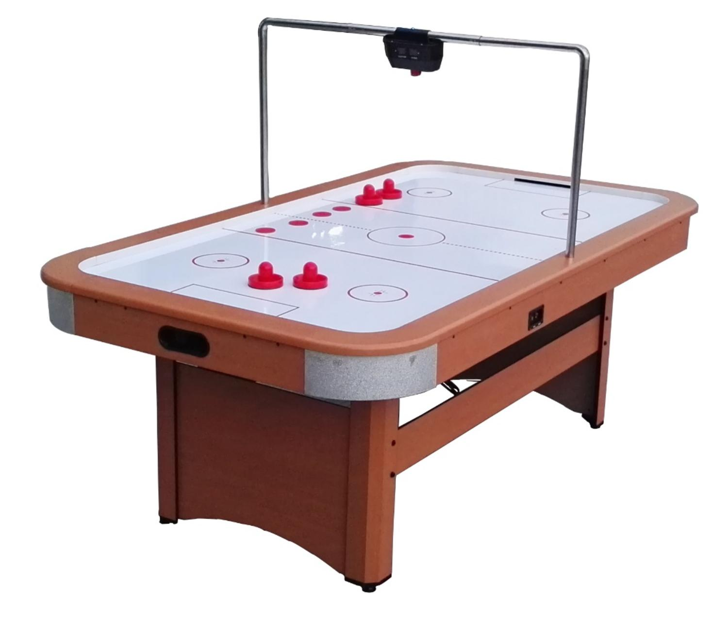 7' x 4' Recreational Brown White and Red Air Hockey Game Table by Pool Central