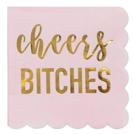 Bachelorette Party Napkins - 50-Pack Cheers Btches Cocktail Napkins, Gold Foil in Light Pink 3-Ply Disposable Napkins, Party Decoration Supplies, Folded 5 x 5 Inches - Napkin Fold