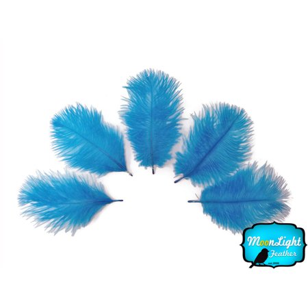 1 Pack - Turquoise Blue Ostrich Small Confetti Feathers 0.3 Oz - Fake Ostrich Feathers
