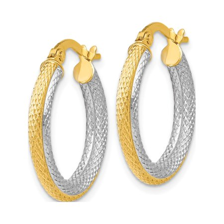 Leslie's 14k Two-tone Textured Hoop Earrings (20.5x25) - image 1 of 3