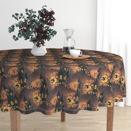 Round Tablecloth Vintage Halloween Vintage Halloween Haunted House Cotton Sateen](Sun Hill Industries Halloween)