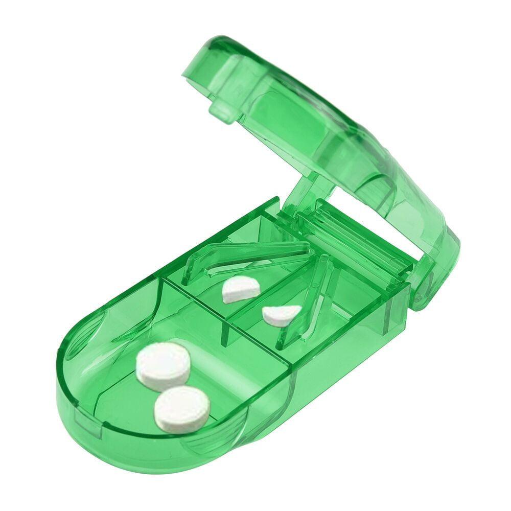 Pill Cutter Splitter Half Storage Compartment Box Medicine Tablet Holder