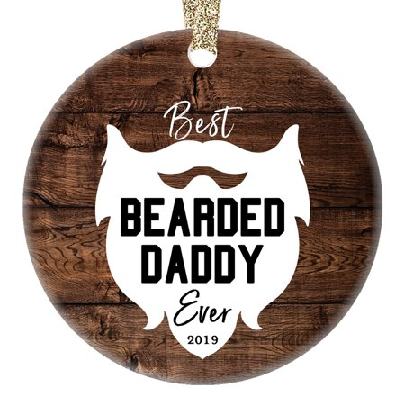 Bearded Daddy Ornament Best Ever 2019 Porcelain Keepsake Christmas Present for Dad Father Papa from Son Daughter Children Kids 3