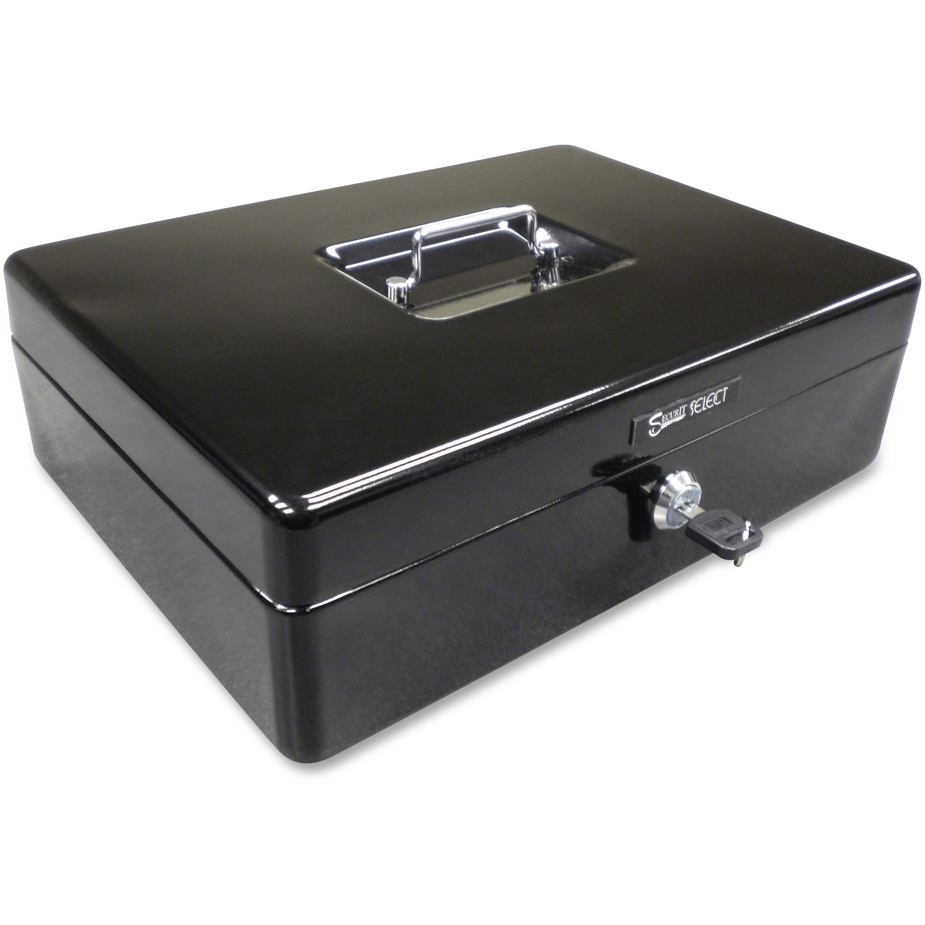 PM, PMC04804, 9-Compartment Spacious Size Cash Box, Black,Silver