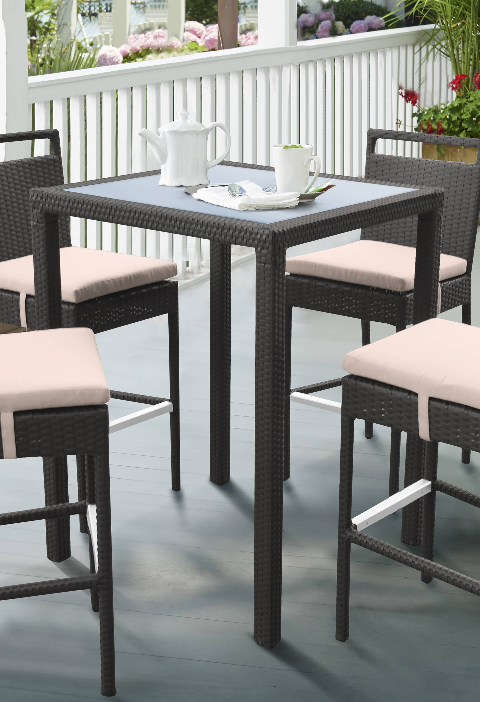 Armen Living Tropez Outdoor Patio Wicker�Pub Table with Black�Glass Top by Armen Living