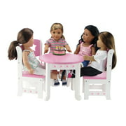 Emily Rose 18 Inch Doll Furniture for My Life Dolls | Doll Accessories Table and 4 Chair Value Pack Dining Set with Star Motif