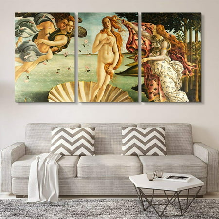 wall26 3 Panel World Famous Painting Reproduction on Canvas Wall Art - The Birth of Venus by Sandro Botticelli - Modern Home Decor Ready to Hang - 16