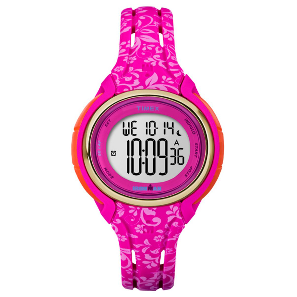 TIMEX IRONMAN SLEEK 50 MID- SIZE PINK FLORAL WATCH by Timex