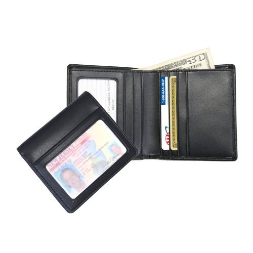 Royce Leather Mens Double ID Bi-Fold Wallet - Black