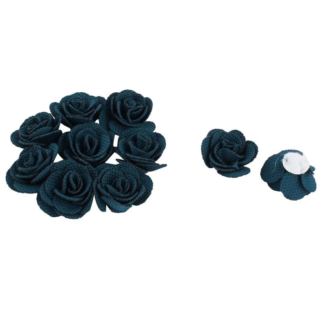 Fabric Camellia Craft Decor DIY Wedding Ornament Ribbon Flowers Dark Blue 10pcs