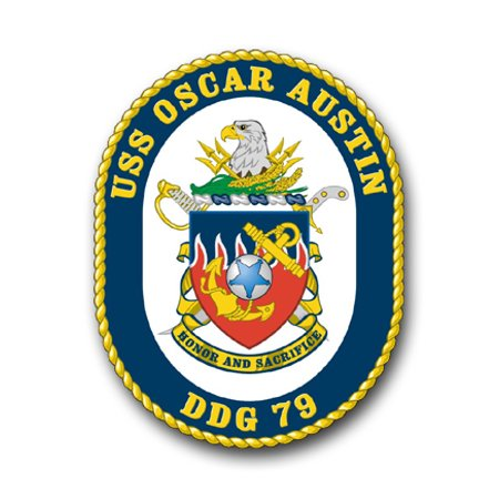 3.8 Inch Navy USS Oscar Austin Shaded DDG-79 Vinyl Transfer Decal