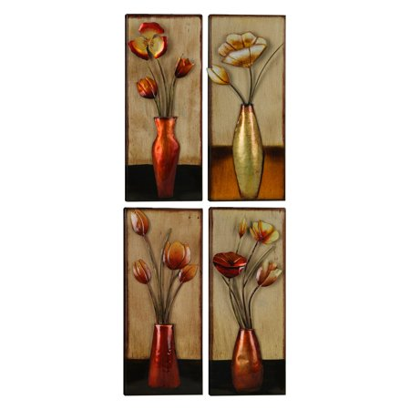 ArtMaison Canada Small Metal 4 Piece Floral in Vase Wall Art ()