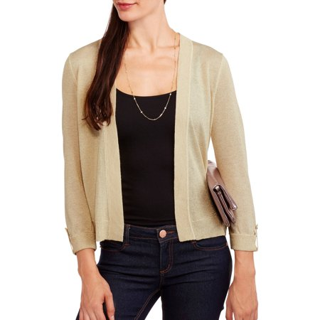 Concepts Women's Roll Up Sleeve Flyaway Cardigan with Metallic Accents