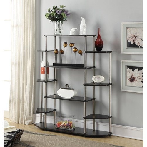 Black Wall Unit convenience concepts designs2go no tools wall unit bookshelf