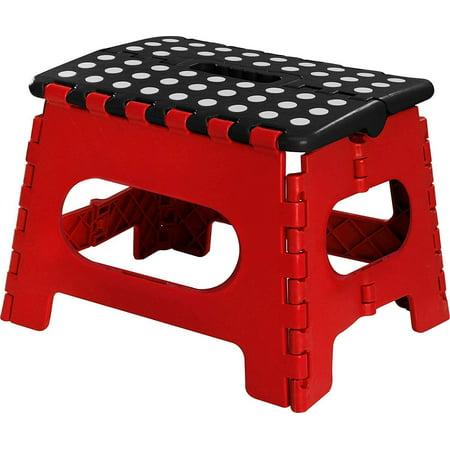 GHP 29x22x27-CM 300-Lbs Capacity Foldable Stool w Rubber Polka Dots on top & (Polka Dot Wooden Stool)