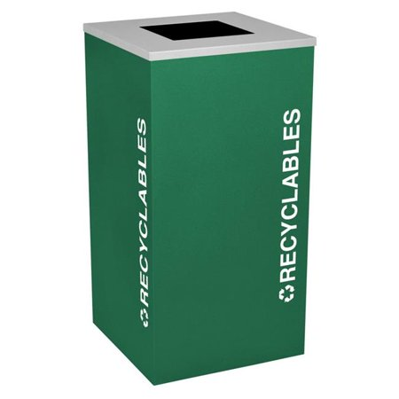 Ex-Cell Kaiser RC-KDSQ-R EGX 24 Gallon Square Recycling Receptacle with Recyclables Decal, Emerald (Stores In Emerald Square Mall)
