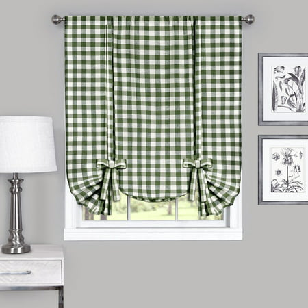 Country Chic Plaid Gingham Tie Up Shade Window Curtain Treatment - Sage ()