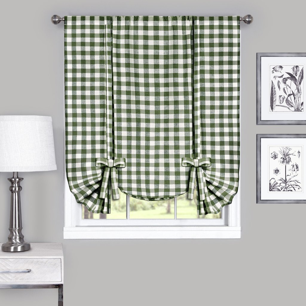 Country Chic Plaid Gingham Tie Up Shade Window Curtain Treatment - Sage