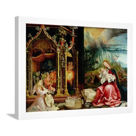 The Isenheim Altarpiece, Central Panel: Concert of Angels and Nativity, 1506-1515 Framed Print Wall Art By Matthias Grünewald