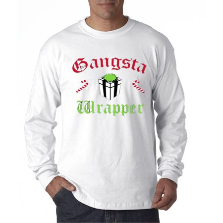 New Way 588 - Unisex Long-Sleeve T-Shirt Gangsta Wrapper Rapper Gift Candy Cane - Happy New Year Gangsta